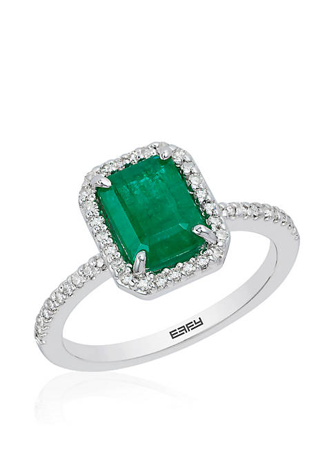 Effy® 1/4 ct. t.w. Diamond Natural Emerald Ring
