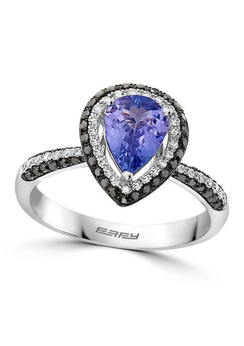 1/2 ct. t.w. Diamond and 1 ct. t.w. Tanzanite Ring in 14K White Gold
