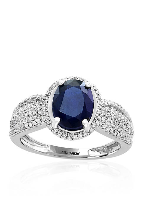 Effy® Sapphire and Diamond Ring in Sterling Silver