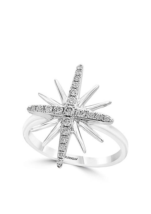 Effy® Sterling Silver Diamond Star Ring