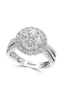 Effy® 14K White Gold Diamond Cluster Ring