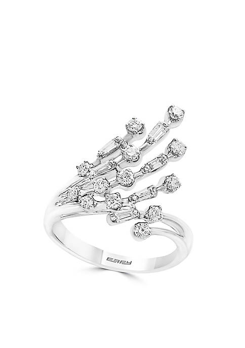 Effy® 14K White Gold Baguette and Round Diamond