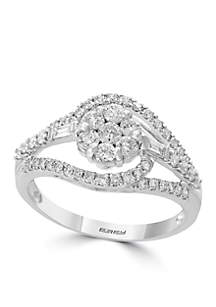 14K White Gold Diamond Ring with Round Baguette Stones