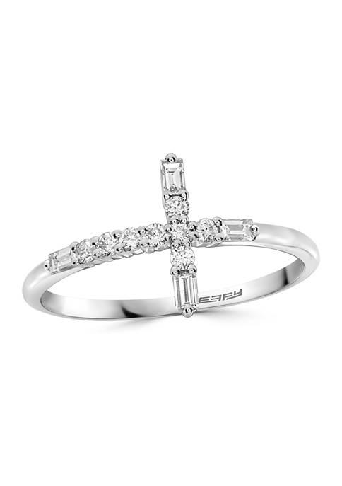 Effy® 1/4 ct. t.w. Diamond Cross Ring in