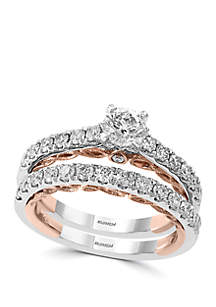 Effy® 1.38 ct. t.w. Set of 2 Diamond Rings in 14k White and Rose Gold