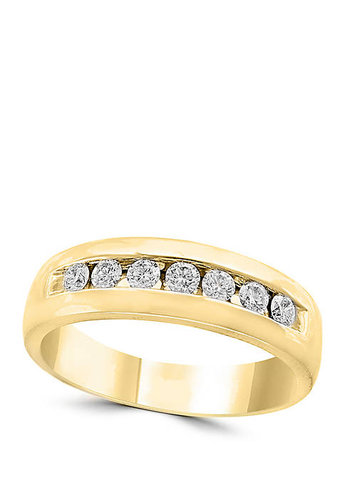 Mens 1/2 ct. t.w. Diamond Band in 14k Yellow Gold