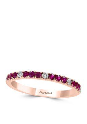 Effy Women 1/10 Ct. T.W. Diamond Natural Ruby Band Ring In 14K Rose Gold - Rose Gold - 7
