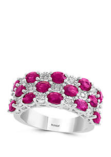 Effy® 1/4 ct. t.w. Diamond, 3.33 ct. t.w. Natural Ruby Ring in 14k White Gold
