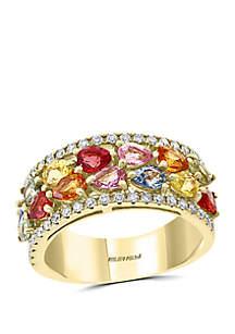 Effy® 3/7 ct. t.w. Diamond, 2.70 ct. t.w. Multi Sapphire, Natural Ceylon Sapphire, Green Sapphire, Orange Sapphire, Pink Sapphire, Yellow Sapphire Ring in 14k Yellow Gold