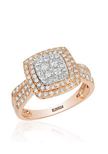 Effy® 3/4 ct. t.w. Diamond Cluster Ring in 14k White Gold and Rose Gold