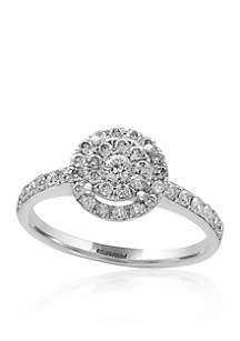0.56 ct. t.w. Diamond Cluster Ring in 14K White Gold