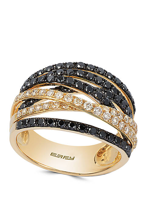 1.31 ct. t.w. Black and White Diamond Crossover Band in 14K Yellow Gold