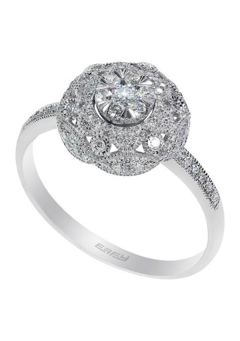 14k White Gold 1/3 ct. t.w. Diamond Cluster Ring