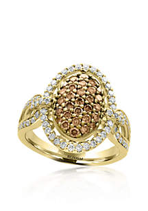1.11 ct. t.w. Espresso and White Diamond Ring in 14K Yellow Gold