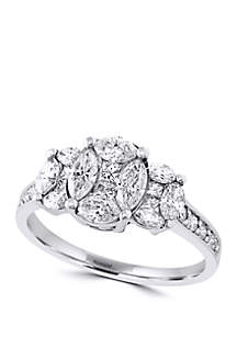 Round, Square and Marquise 1.3 ct. t.w. Diamond Ring in 14K White Gold