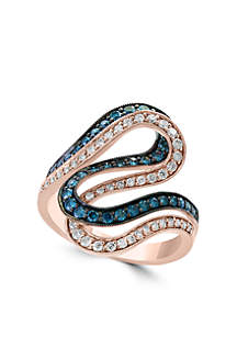 7/8 ct. t.w. Diamond and Blue Diamond Statement Ring in 14k Rose Gold