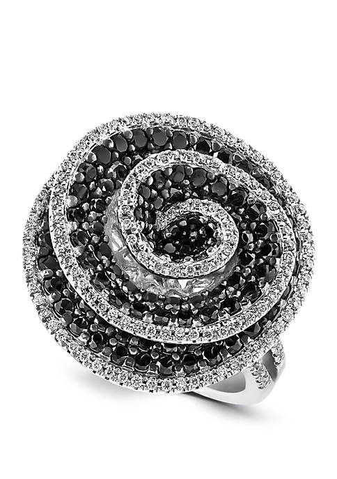 2.21 ct. t.w. Black and White Diamond Ring in 18K White Gold