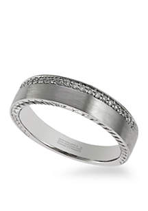 Effy® Men's 1/8 ct. t.w. Diamond Ring in 18k White Gold