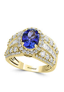 1.59 ct. t.w. Diamond and Tanzanite Ring in 14k Yellow Gold