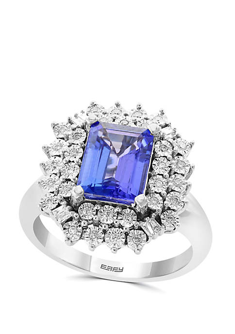 2.09 ct. t.w. Tanzanite and 1/5 ct. t.w. Diamond Ring in 14k White Gold