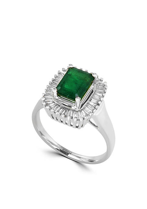 Effy® 14k White Gold Diamond And Natural Emerald