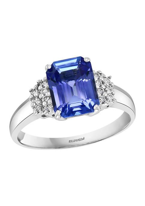 1/10 ct. t.w. Diamond and 2.09 ct. t.w. Tanzanite Ring in 14K White Gold
