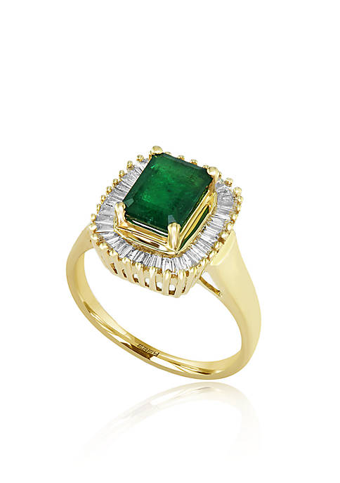 1.42 ct. t.w. Emerald and 1/2 ct. t.w. Diamond Ring in 14K Yellow Gold