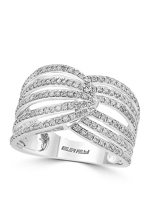 Effy® Sterling Silver Diamond Open Band Ring