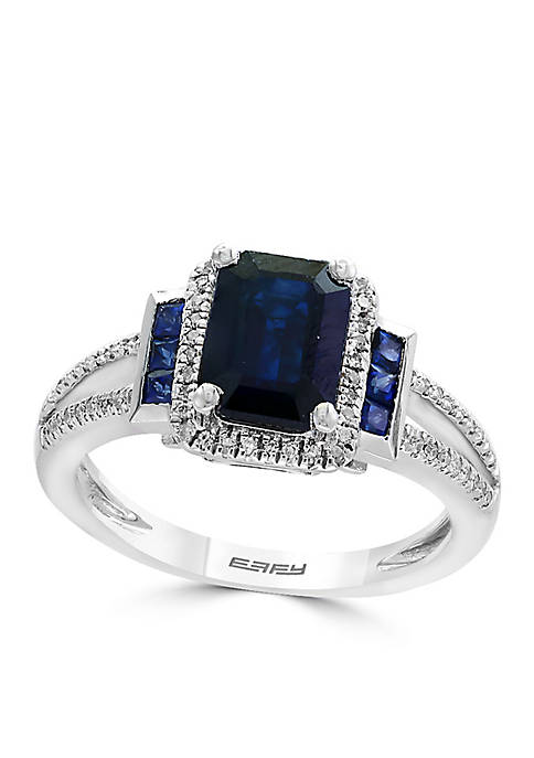 Effy® Sterling Silver Sapphire And Diamond Ring