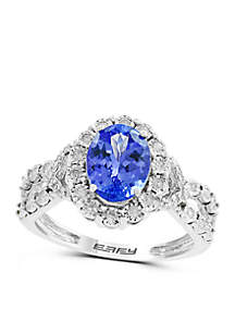 Effy® 1/4 ct. t.w. Diamond and 1.71 ct. t.w. Tanzanite Ring in 14k White Gold