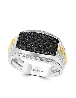 Effy Men S 1 2 Ct T W Diamond And Black Diamond Ring In Sterling Silver And 14k Yellow Gold Belk