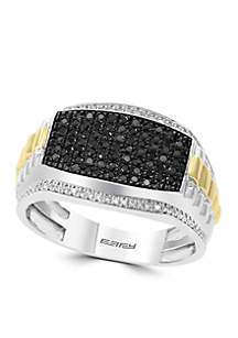 Effy® Men's 1/2 ct. t.w. Diamond and Black Diamond Ring in Sterling Silver and 14k Yellow Gold
