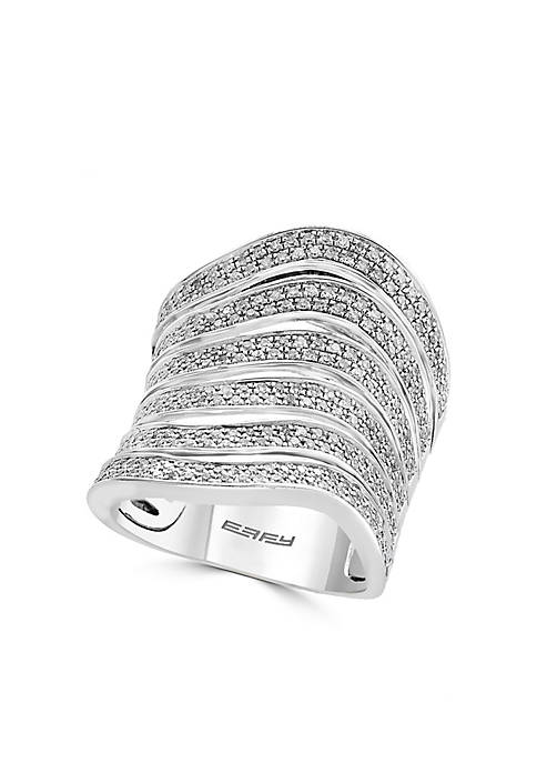Effy® Sterling Silver Diamond Wave Wide Ring