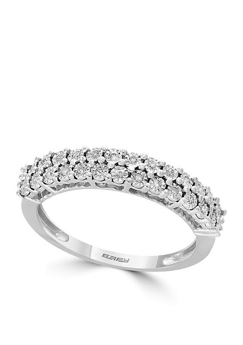 Effy® Sterling Silver Two-Row Miracle Set Diamond Band