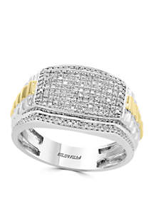 Effy® 1/2 ct. t.w. Diamond Ring in Sterling Silver and 14k Yellow Gold