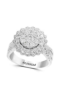 1.29 ct. t.w. Diamond Cluster Ring in 14k White Gold