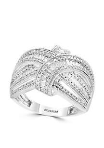 7/8 ct. t.w. Diamond Baquette Ring in 14k White Gold