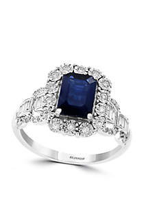 0.31 ct. t.w. Diamond and Sapphire Illusion Ring in 14k White Gold