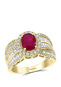 Effy® 1.05 ct. t.w. Diamond and 1.42 ct. t.w. Natural Ruby Ring in 14k Yellow Gold