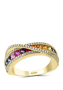 Effy® 1/3 ct. t.w. Diamond and 1.33 ct. t.w. Multi Sapphire Ring in 14k Yellow Gold