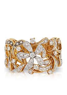 3/8 ct. t.w. Diamond Flower Ring in 14k Yellow Gold
