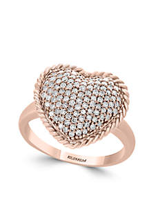 1/2 ct. t.w. Diamond Heart Ring in 14k Rose Gold
