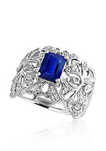 Emerald Cut Sapphire & Diamond Ring in 14K White Gold