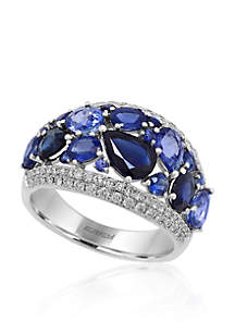 Sapphire & Diamond Ring in 14K White Gold