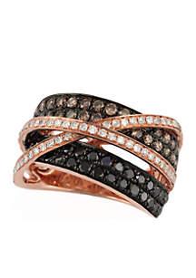 1.76 ct. t.w. Diamond, Espresso Diamond, and Black Diamond Ring in 14k Rose Gold