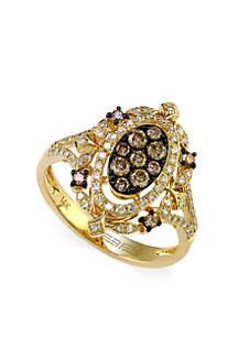 Effy® 5/8 ct. t.w. Diamond and Espresso Diamond Ring in 14k Yellow Gold