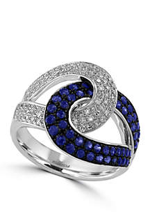 1.15 ct. t.w. Sapphire and Diamond Ring in 14k White Gold