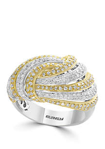Effy® 1.12 ct. t.w. Diamond Ring in 14k White and Yellow Gold