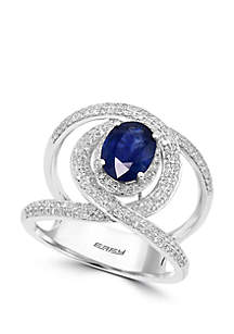 Effy® 5/8 ct. t.w. Diamond and 1.42 ct. t.w. Natural Sapphire Ring in 14k White Gold