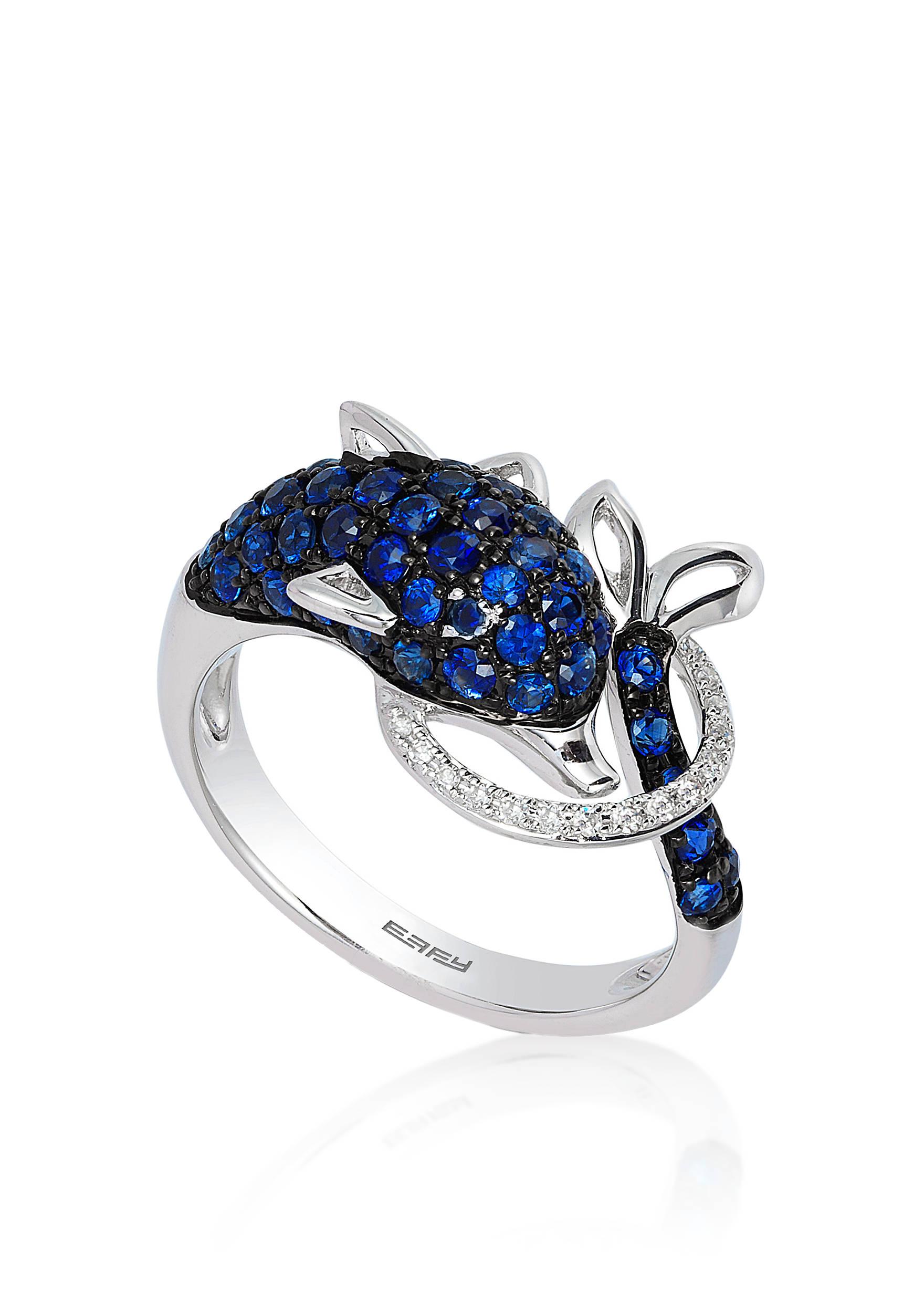 Effy® Sapphire & Diamond Dolphin Ring in 14K White Gold | belk